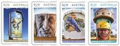 AUS 07/09/2020 Water Tower Art self-adhesive set of 4 from booklets (exSB720-3)
